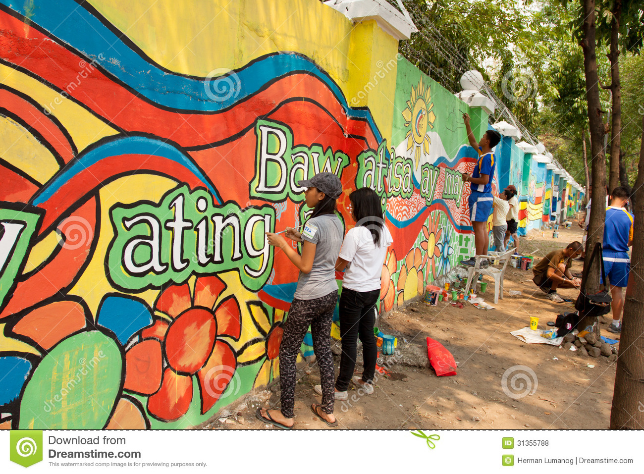 World record peace mural painting in manila philippines - Como hacer un mural ...