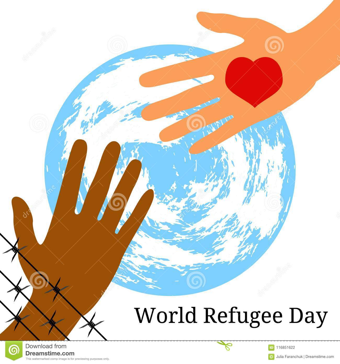 World Refugee Day. The Hand Behind The Barbed Wire Stretches To The ...