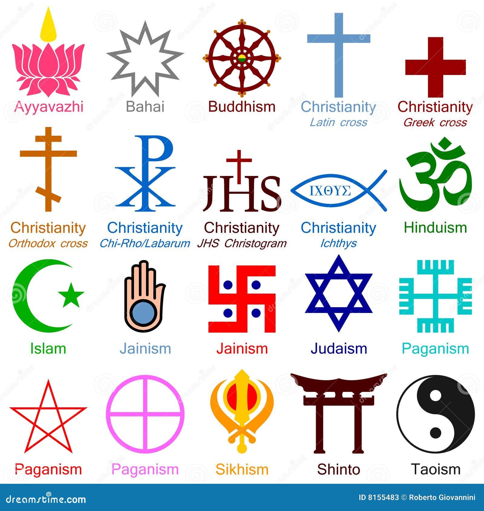 World Religion Colorful Icons Stock Photos - Image: 8155483
