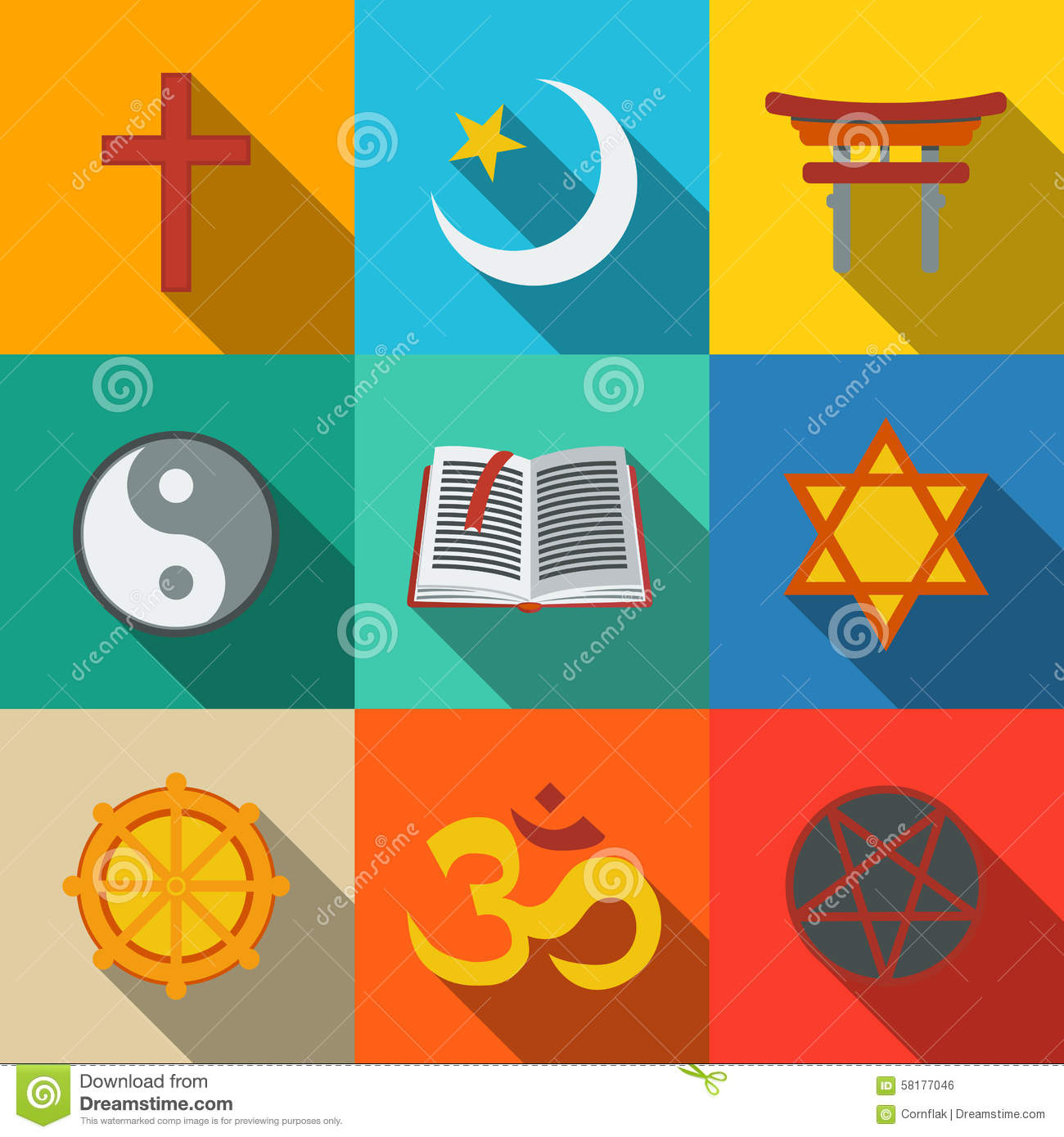 World Religion Symbols Flat Set Christian Stock Vector