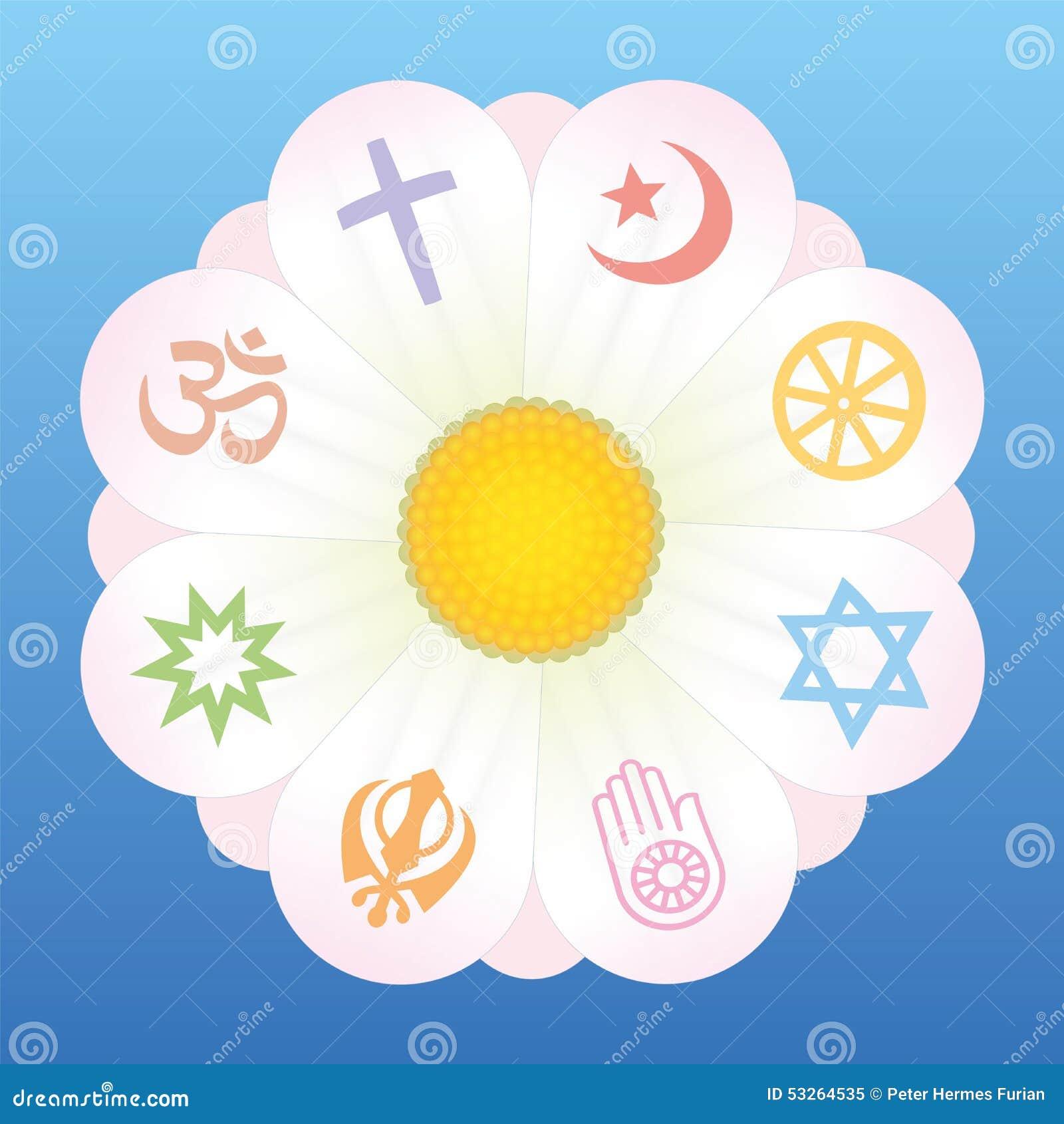 World Religions Flower Symbols Stock Vector Illustration Of Jewish