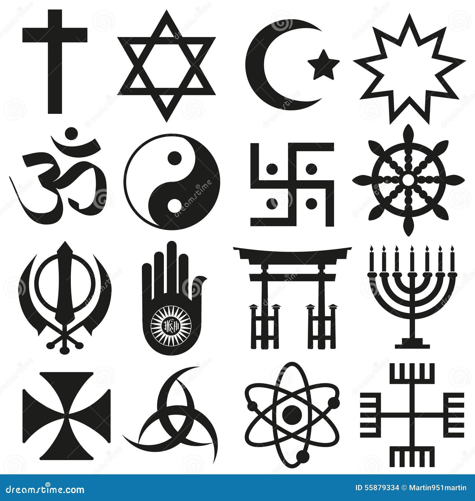 World Religions Symbols Vector Set Of Icons Eps10 Stock ...