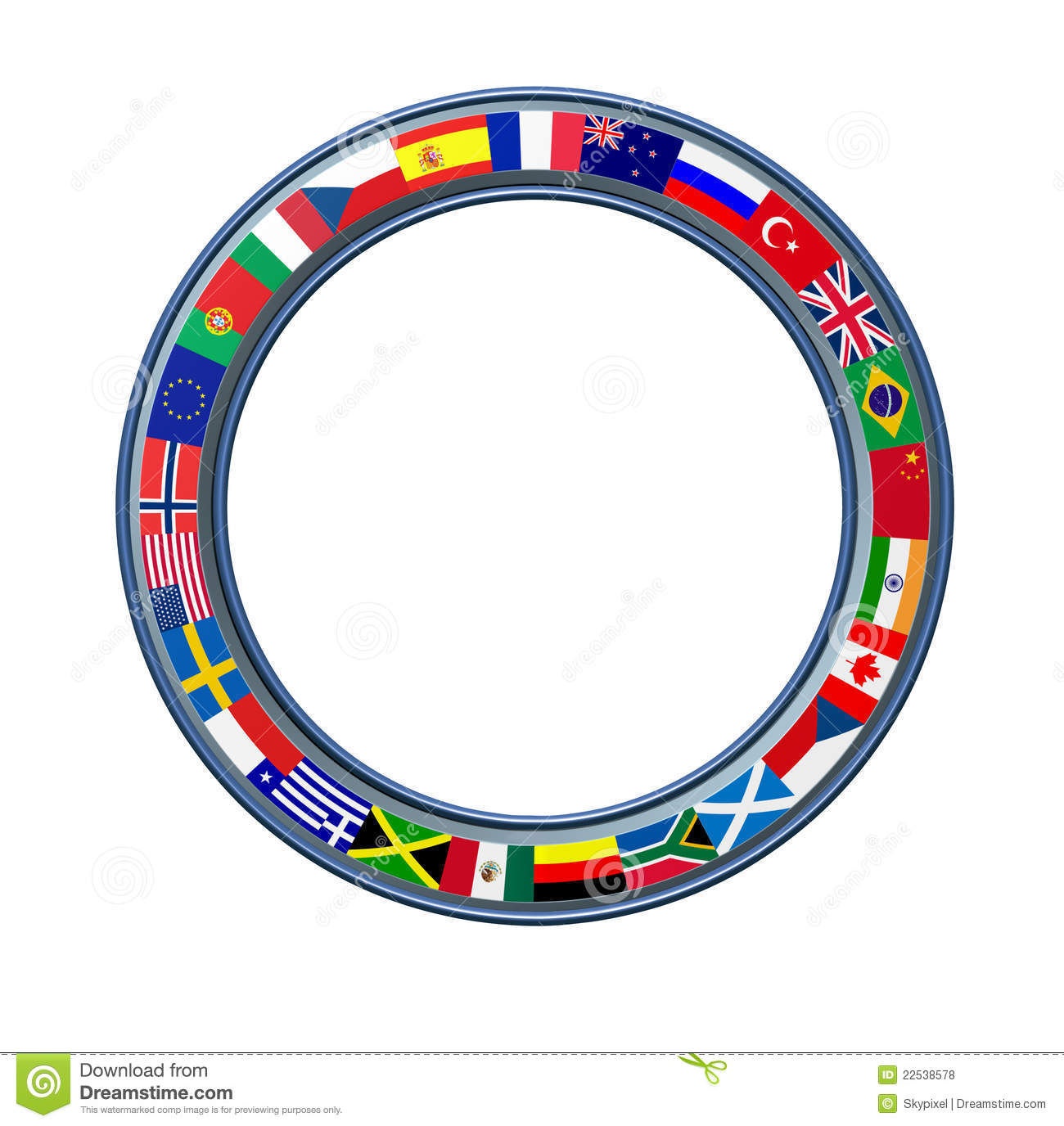 World ring of global flags as a circular blank frame with a metal trim ...