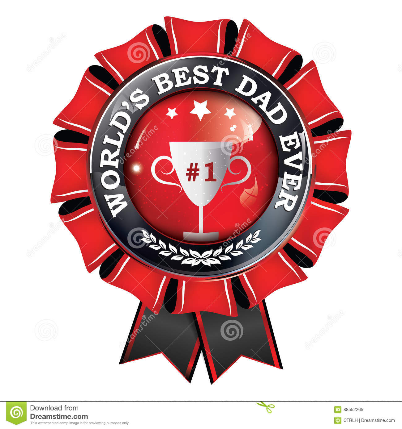 graphic relating to Printable Ribbon known as World wide`s Ideal Father At any time - Printable Award Ribbon Inventory Vector