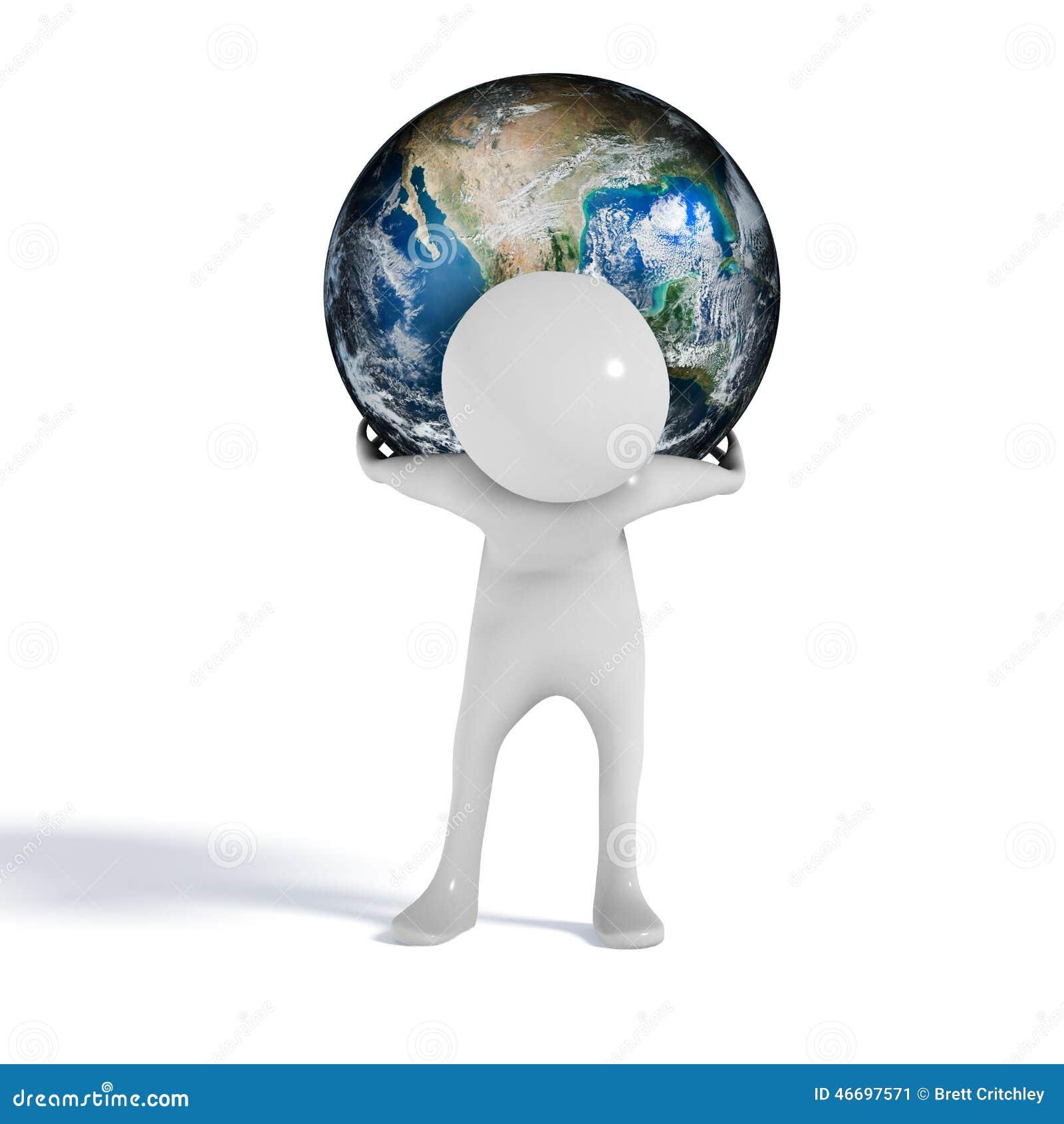 World on shoulders man figure