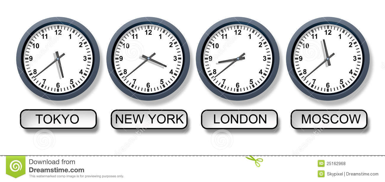 World Time Zone Clocks stock illustration. Illustration of ...