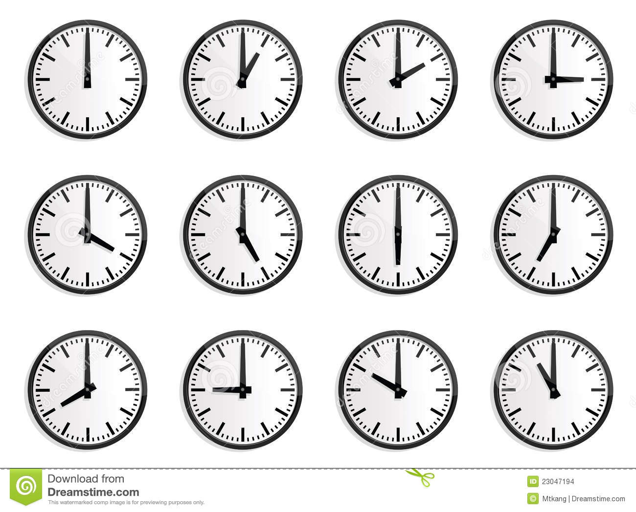 World Time Zone, Wall Clock Stock Vector