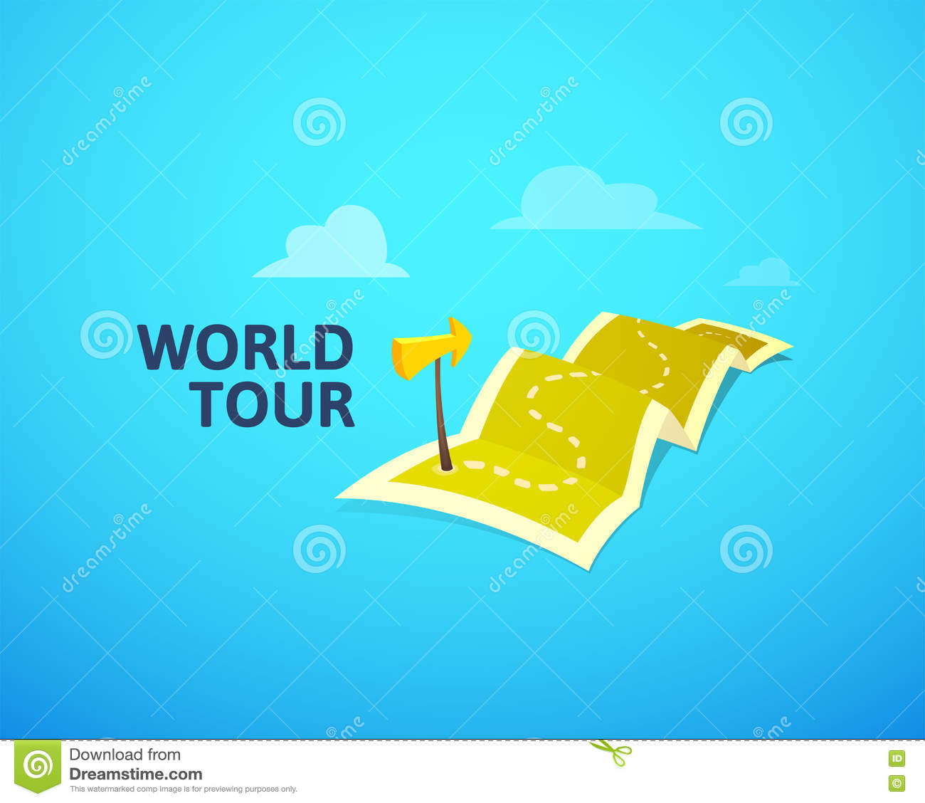 World Tour Concept Logo Long Route In Travel Map With Guide – Travel Marker Map