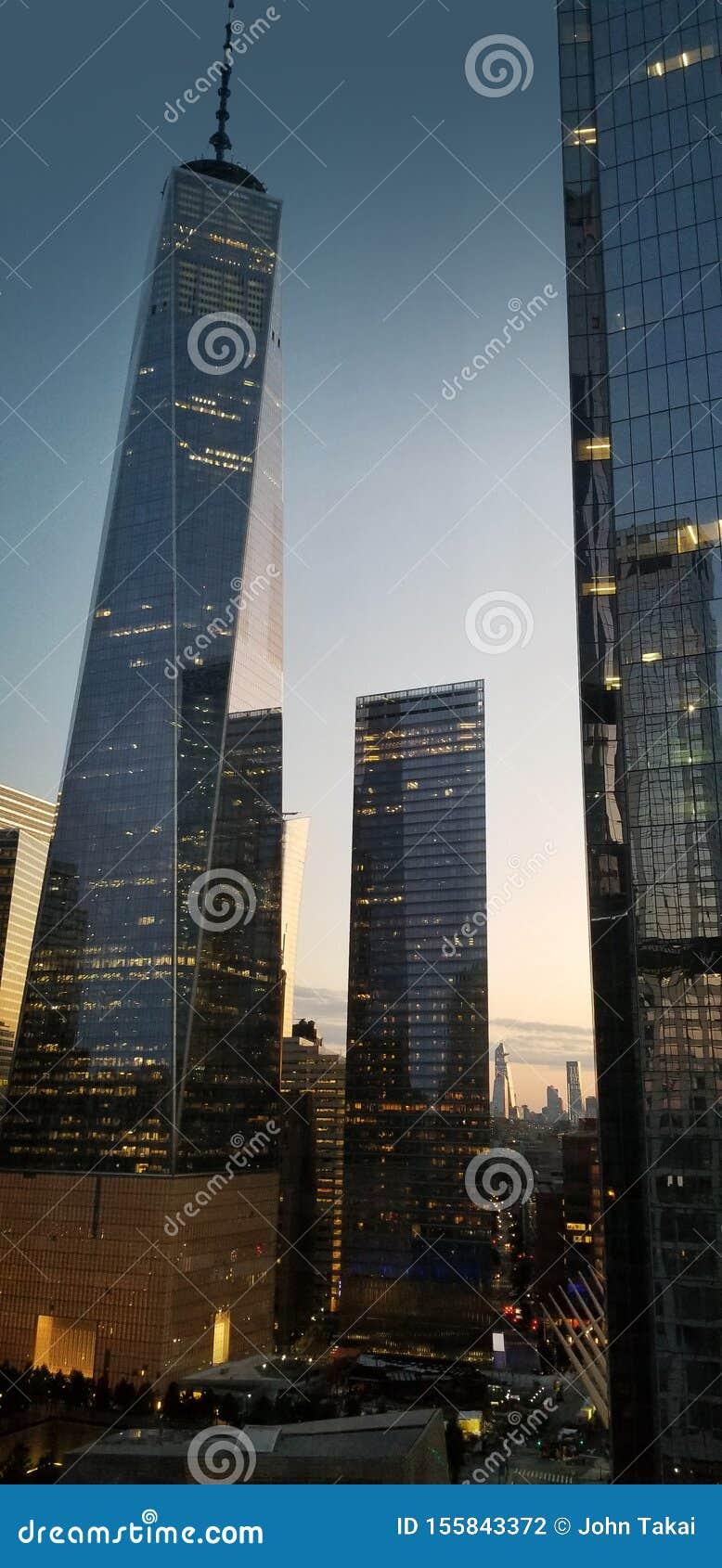 World Trade Center Freedom Tower Sunrise City Lights
