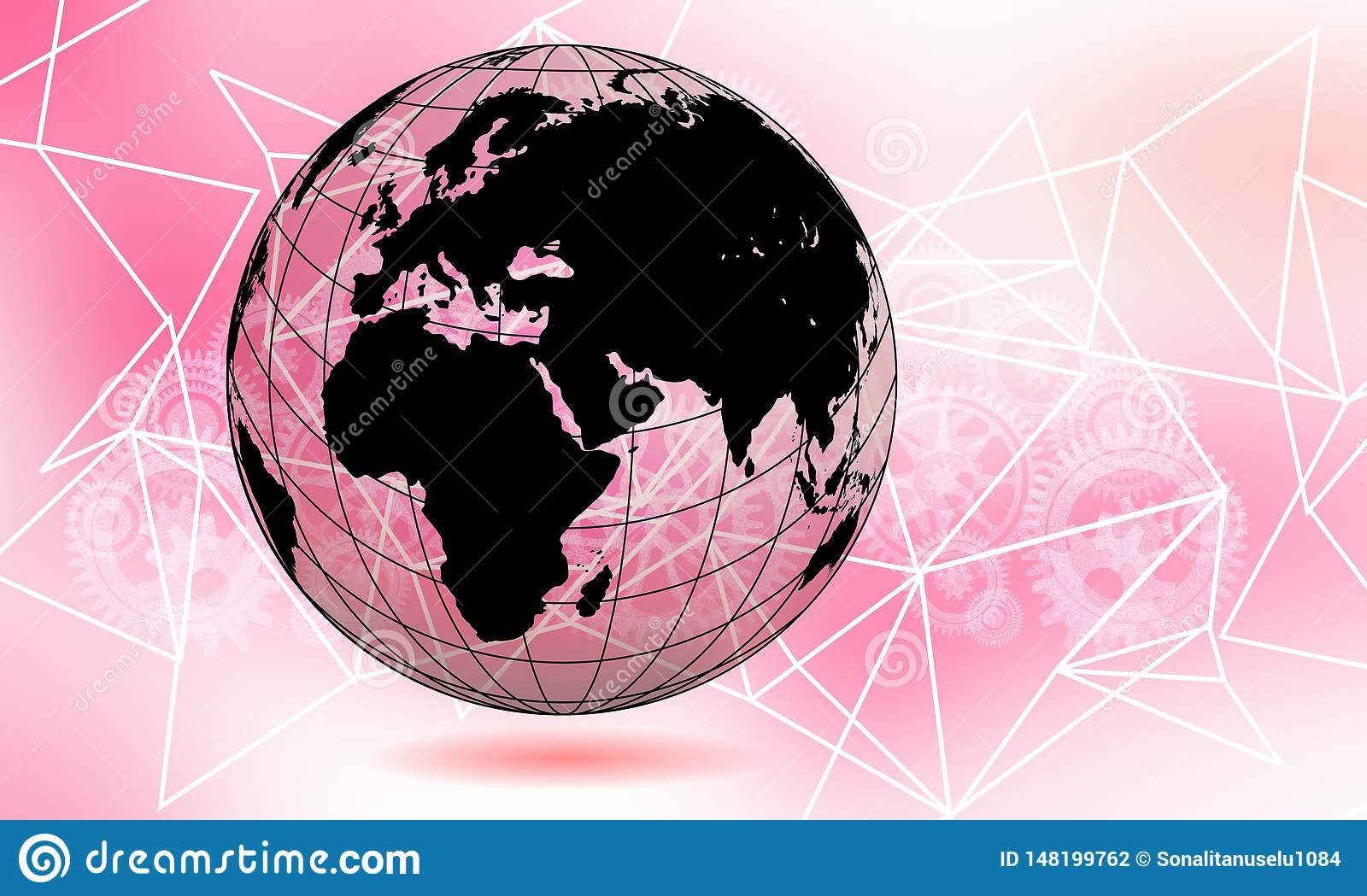 World transparent globe earth. Global communications business concept. Ultraviolet colored Image.