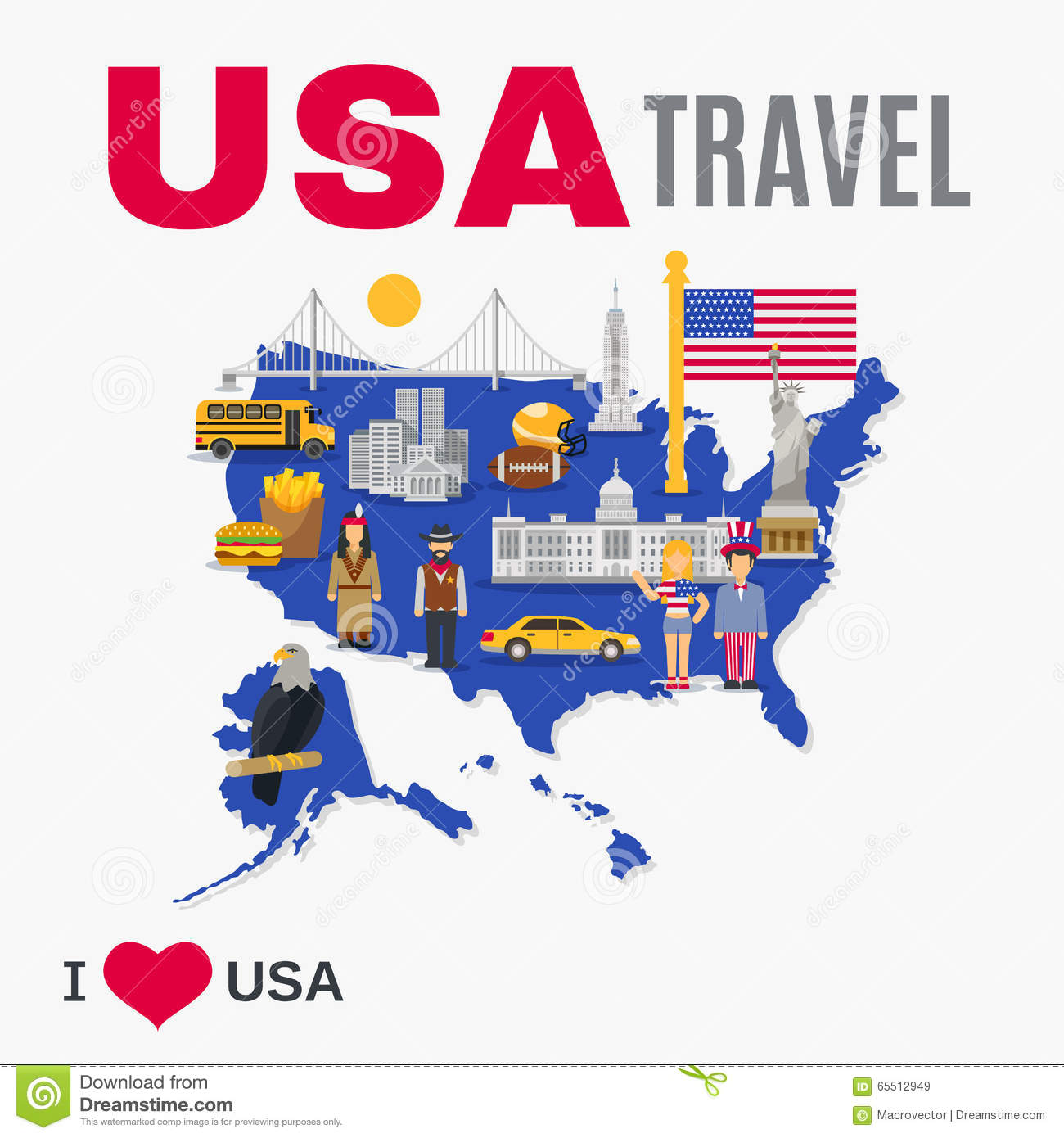 World travel agency usa culture flat poster stock vector for Design agency usa