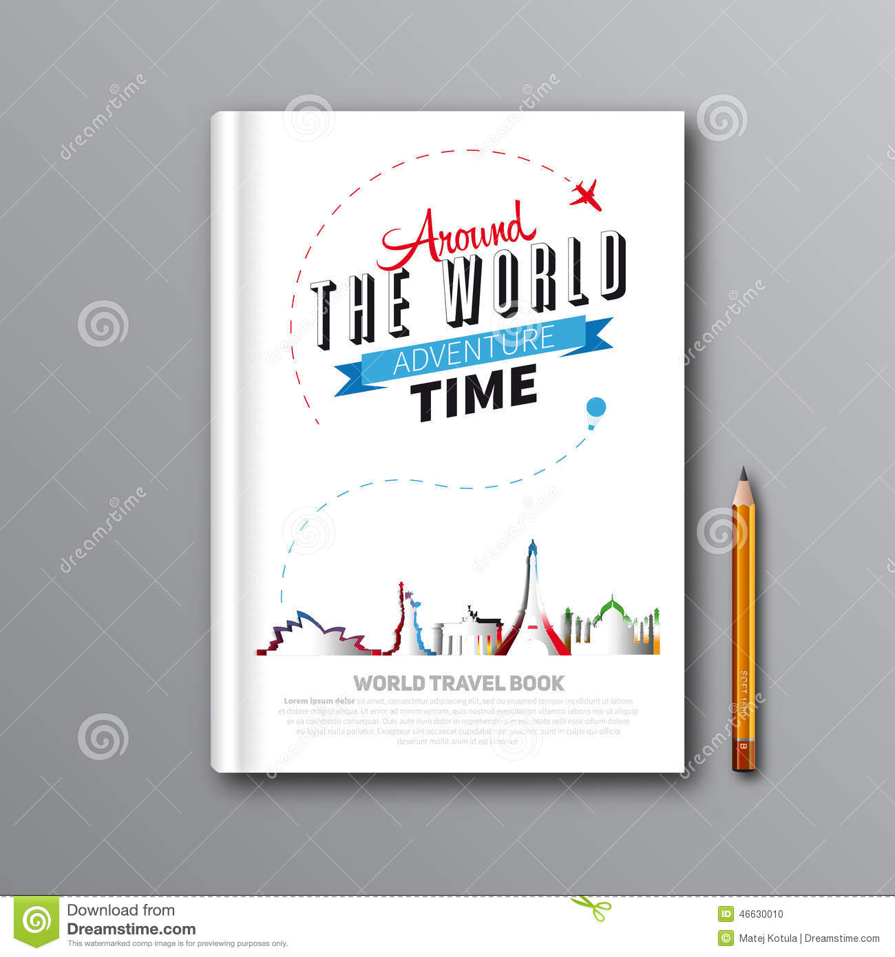 Book Cover Illustration Tips ~ World travel book template design can be used for