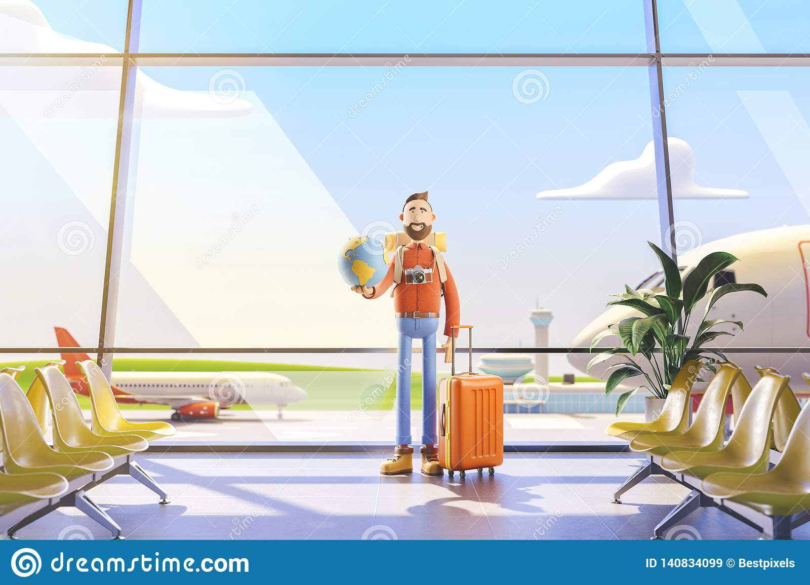 Cartoon character tourist keeps the whole world on the palm in airport. 3d illustration. World travel concept.