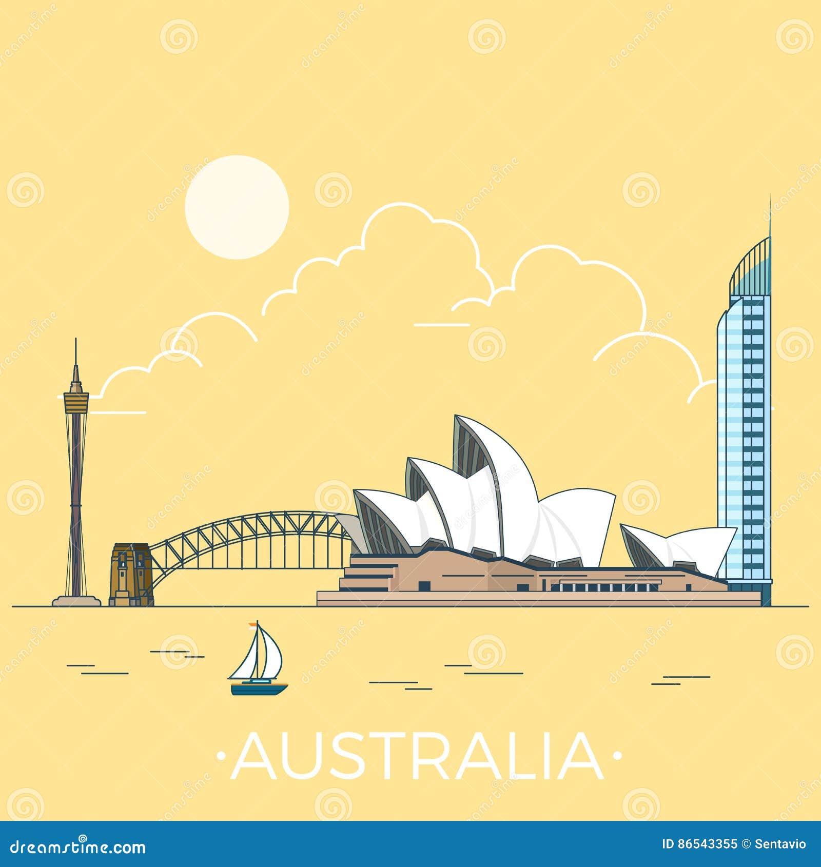 World Travel en desig plano linear del vector de Australia