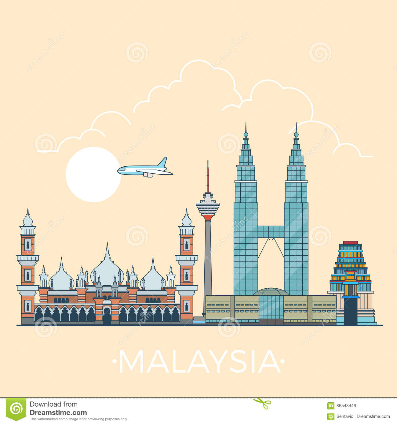 World Travel en diseño plano linear del vector de Malasia
