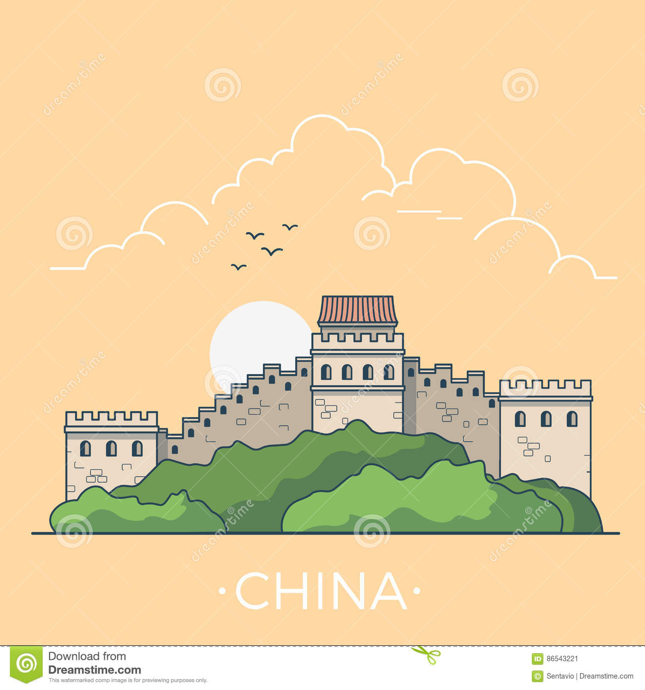 World Travel In Great Wall China Linear Flat Vecto Stock Vector ...