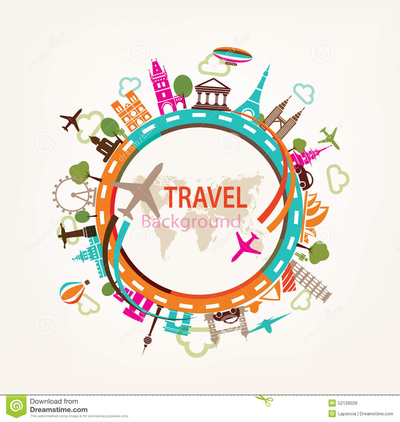 World travel, landmarks silhouettes