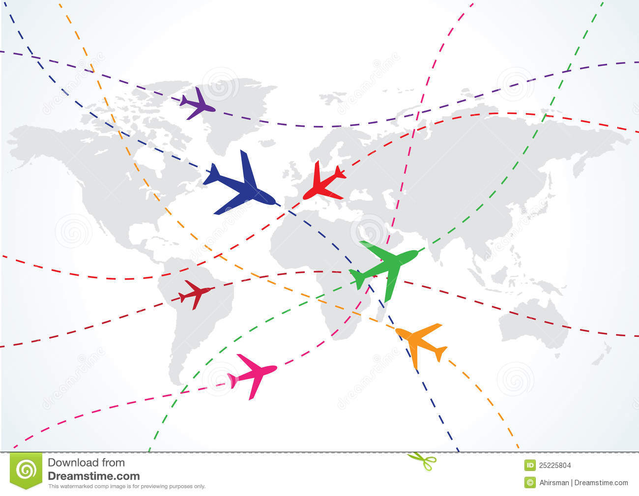 World Travel Map With Airplanes Stock Images - Image: 25225804