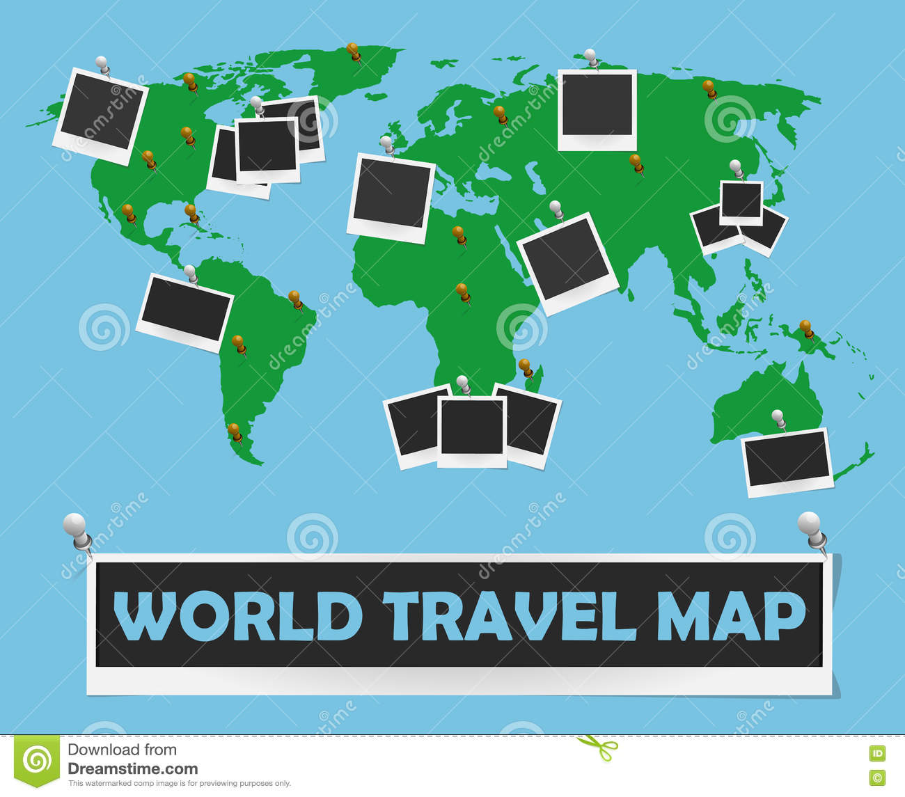 World Travel Map With Photo Frames And Pins Journey Concept Design - World travel map with pins and frame
