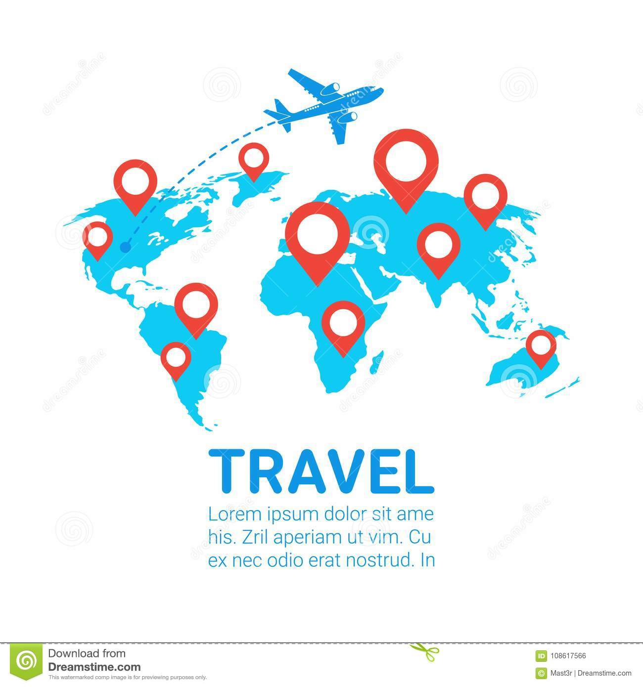 world travel by plane template banner airplane fly over earth map