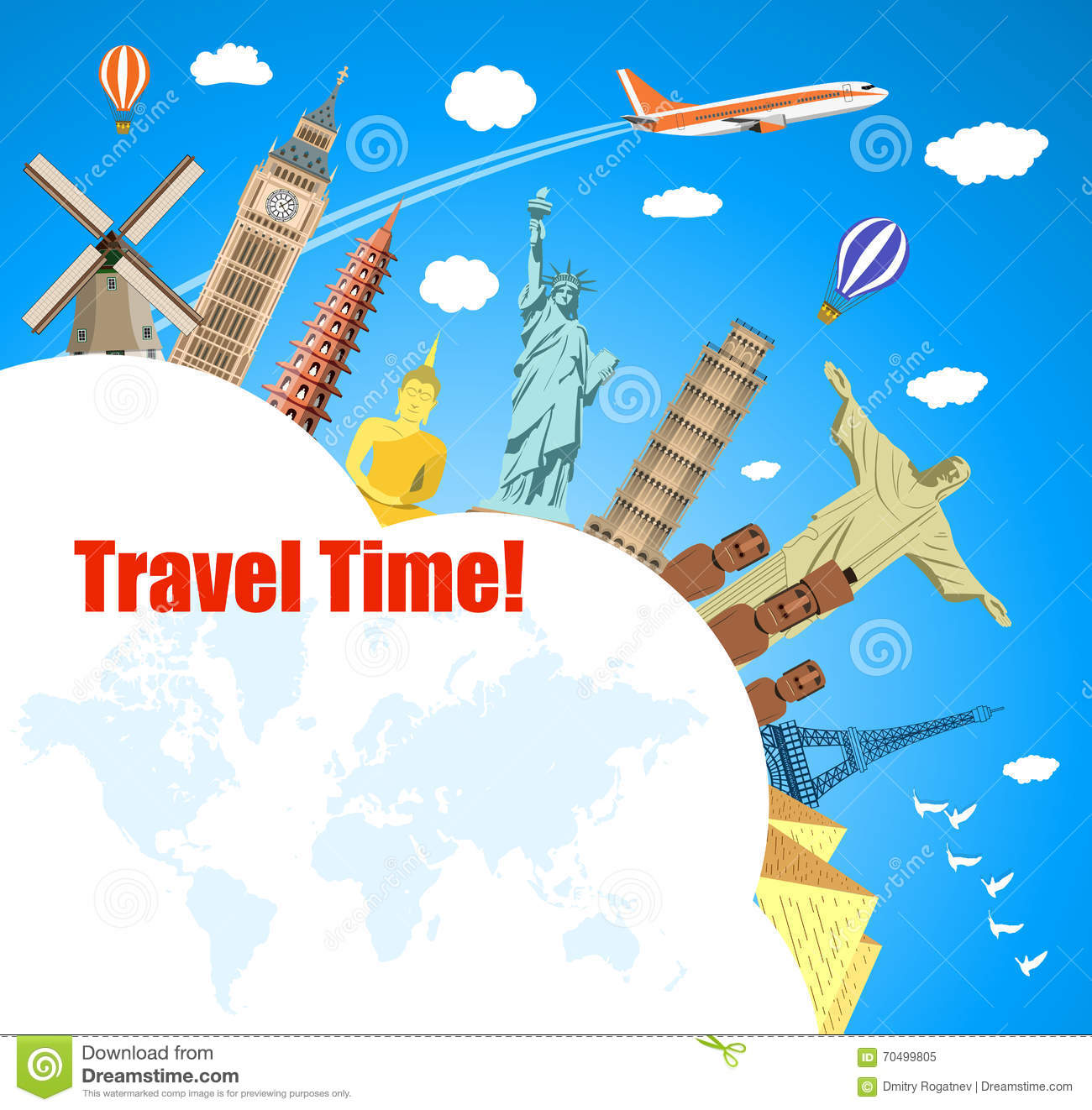 Best Places For Christmas Vacation Usa: World Travel. Planning Summer Vacations. Stock Vector