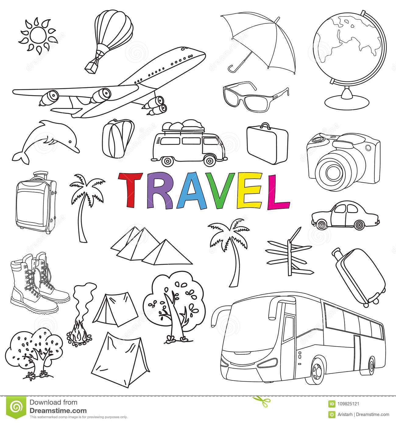 World Travel Set. Hand drawn simple vector sketches collection. Popular  symbols of tourism and traveling 6c74e094b6