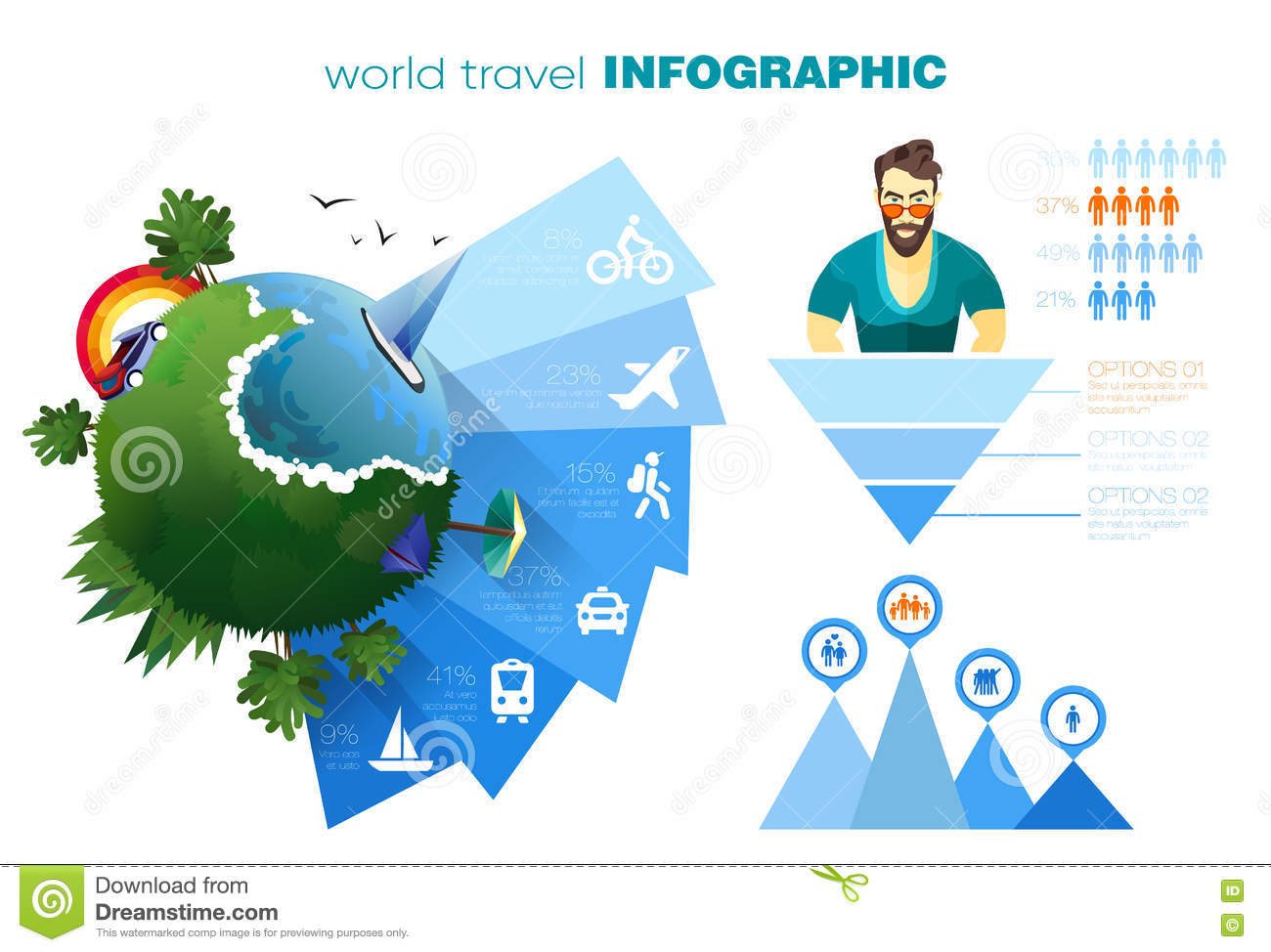 World of travel and vacation infographics concept with simple icons world of travel and vacation infographics concept with simple icons and your text vector eps 10 material design colors gumiabroncs Gallery