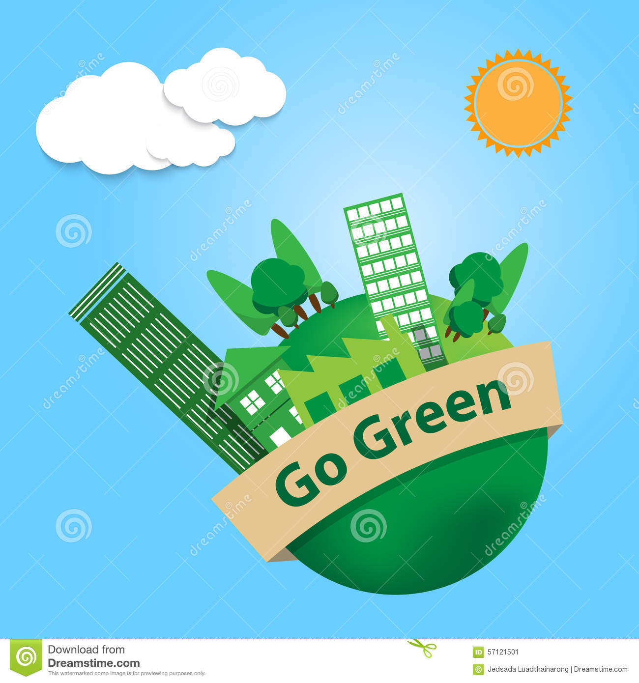 World With Trees City And Factory Building On Go Green Banner Sk Stock Vector Illustration Of Factory Trees 57121501