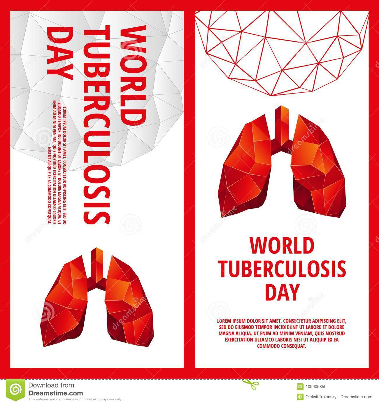 World Tuberculosis Day Flyer Template Abstract Anatomy Organ Stock
