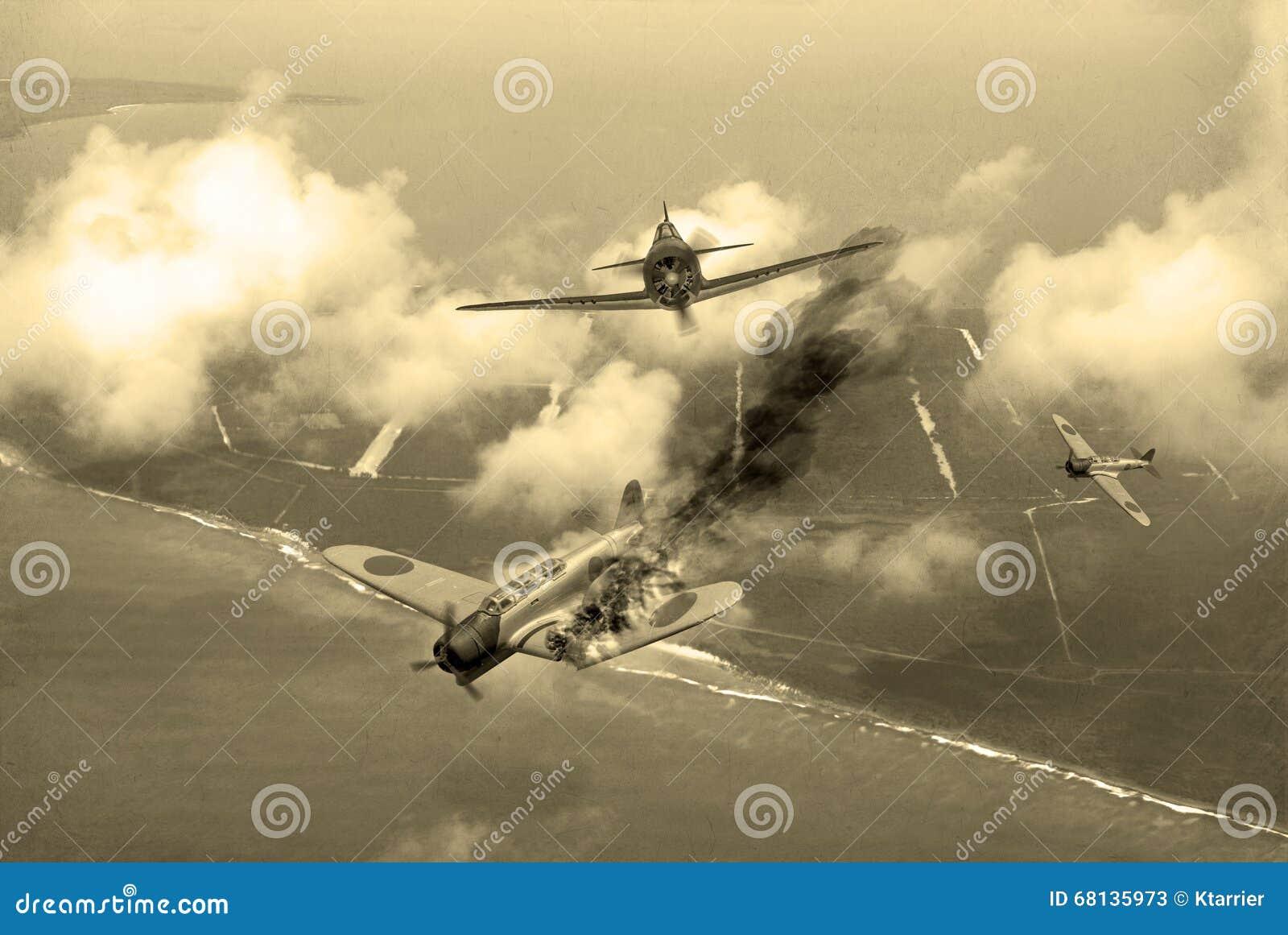 World War 2 dogfight stock illustration  Illustration of tokyo