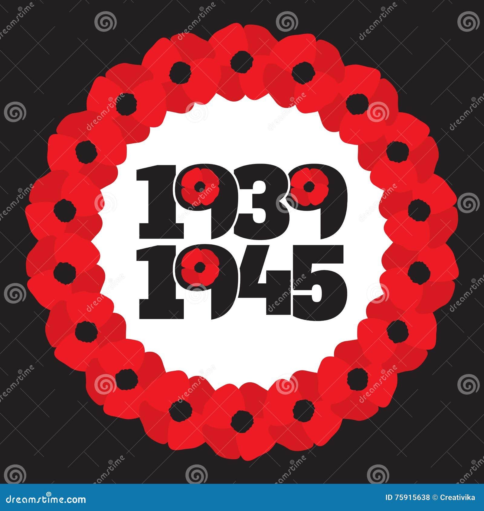 World war ii commemorative symbol with dates poppies stock vector world war ii commemorative symbol with dates poppies buycottarizona Gallery