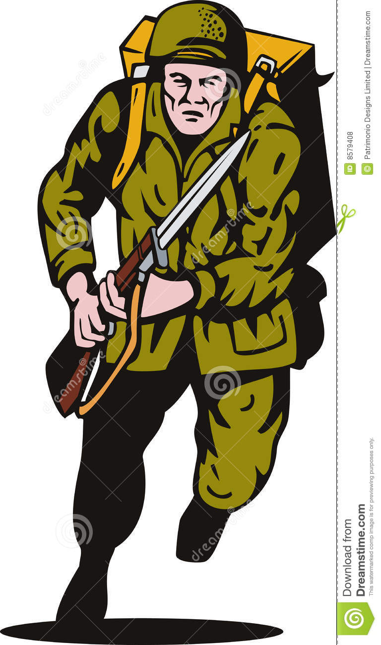Vector illustration of a World war II soldier attacking with bayonet ...