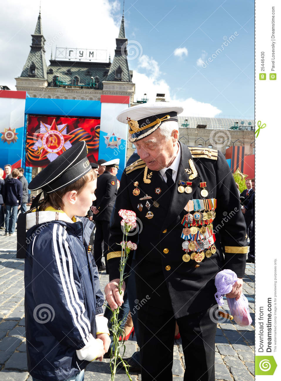 MOSCOW - MAY 9: World War II veteran of Navy in uniform with ...