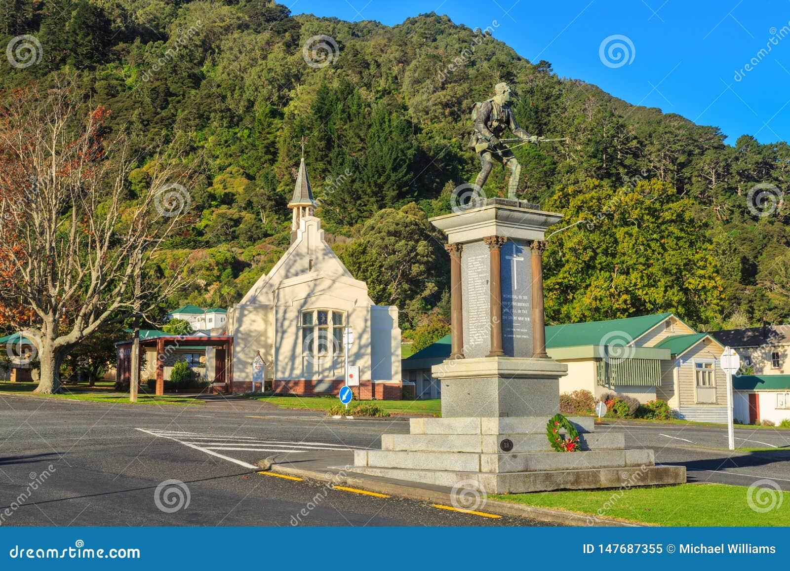 World War 1 memorial and old church, Te Aroha, New Zealand