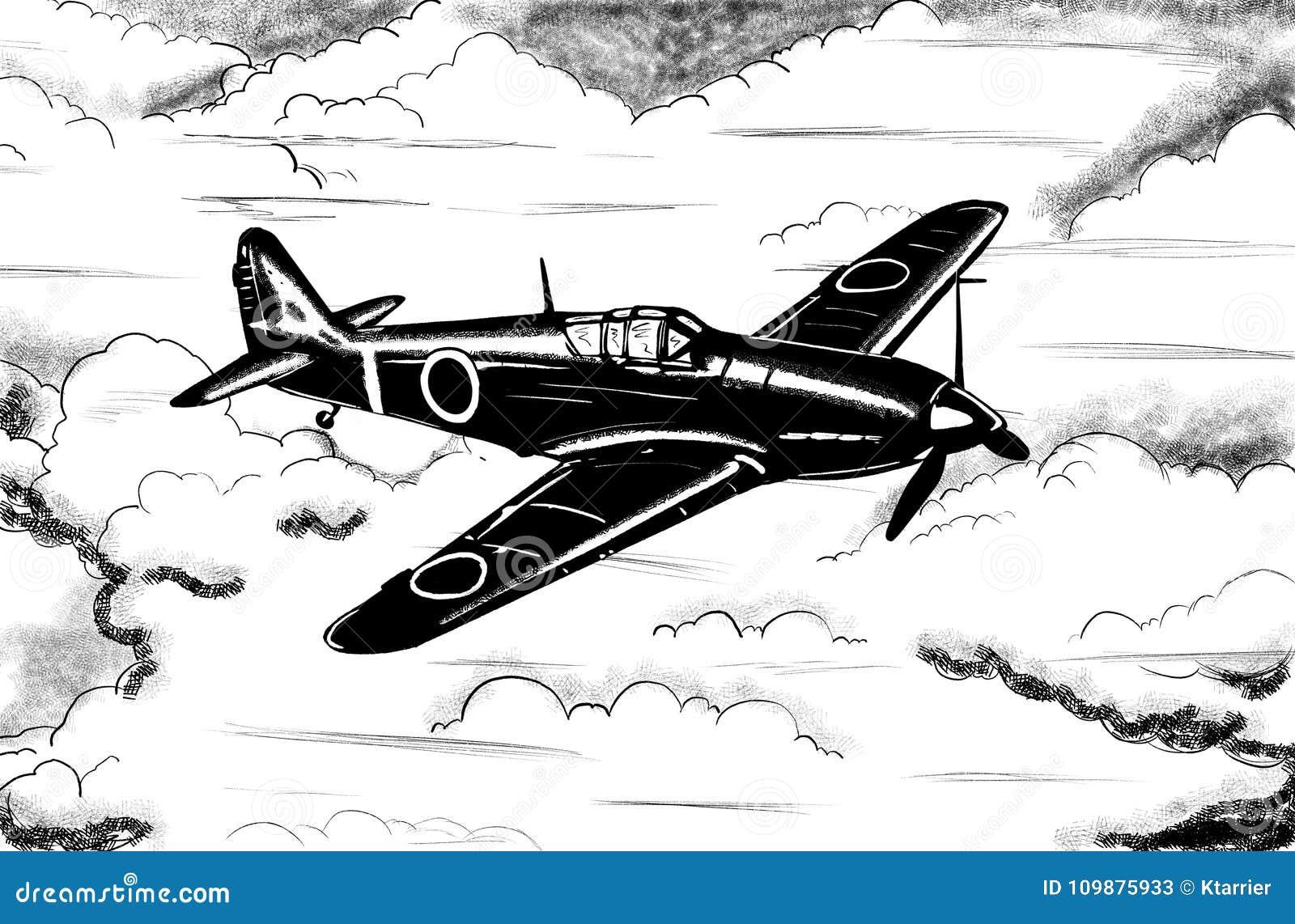 World War 2 Vintage Aircraft Digital Drawing Stock Illustration