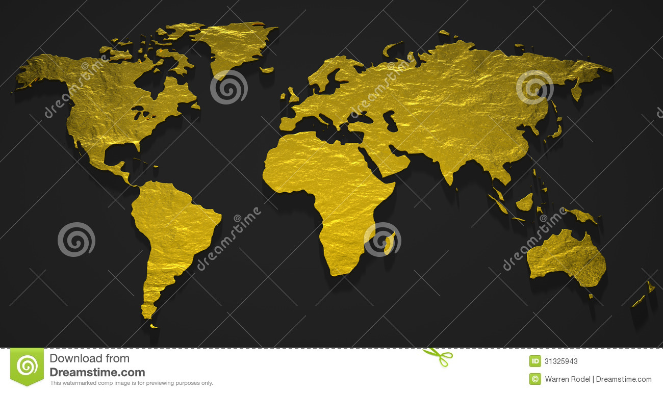 3D Gold Map stock illustration. Illustration of cool   31325943