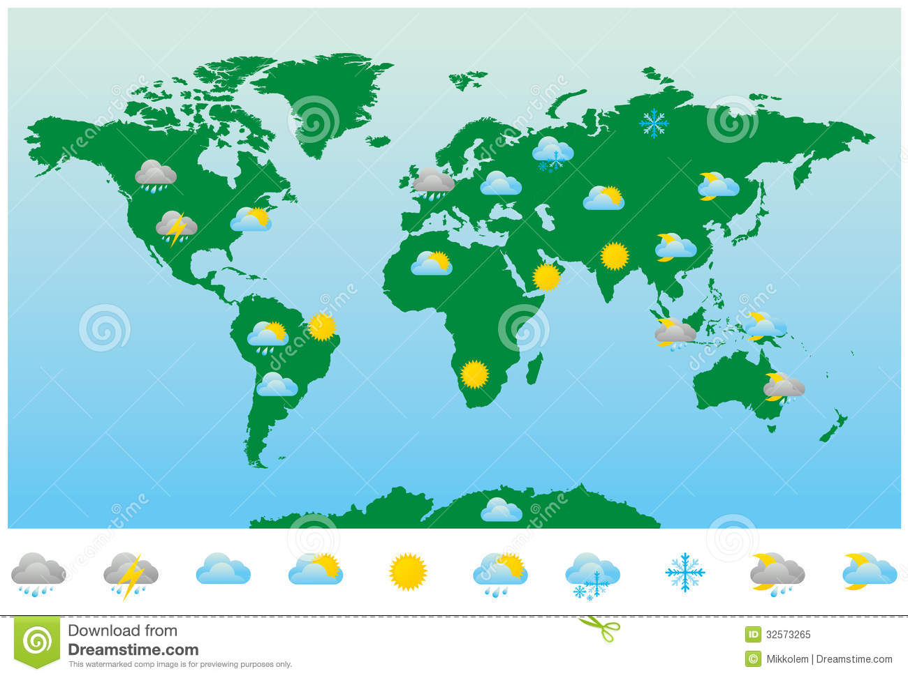 World Weather Forecast Map And Icons Royalty Free Stock Photo ... WORLD WEATHER MAP