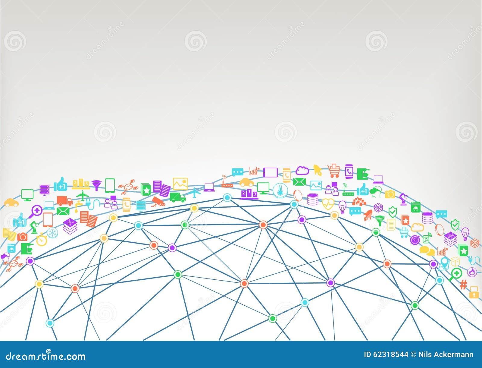 World wide web och internet av begreppet för saker (IoT) av förbindelseapparater Wireframe modell av världen