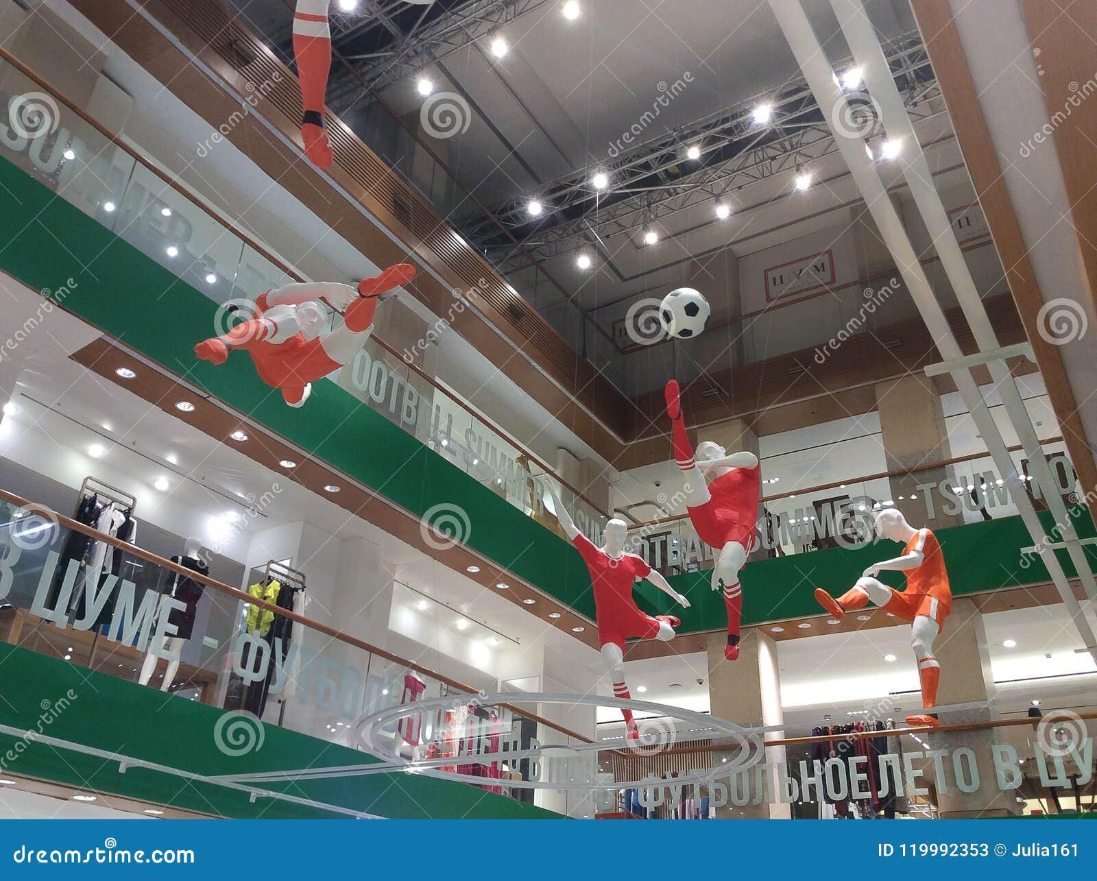 WORLDCUP 2018 van Moskou FIFA decoratie in het warenhuis van TSUM