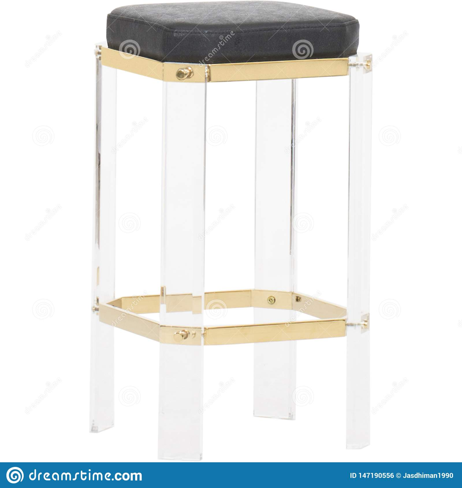 Worlds Away Glam Acrylic Brass Counter Stool Soho Luxe Bar Stool