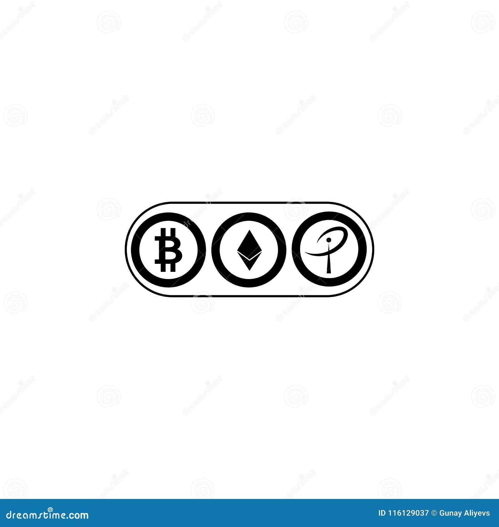 Worldwide Crypto Currency Symbols Bitcoin Ethereum Ripple Virtual