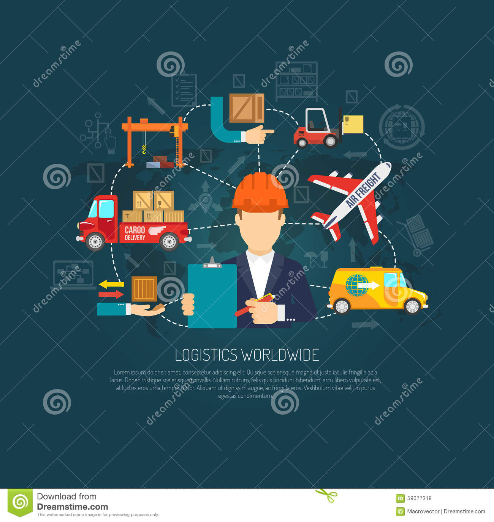 worldwide logistics operations concept flowchart stock vector
