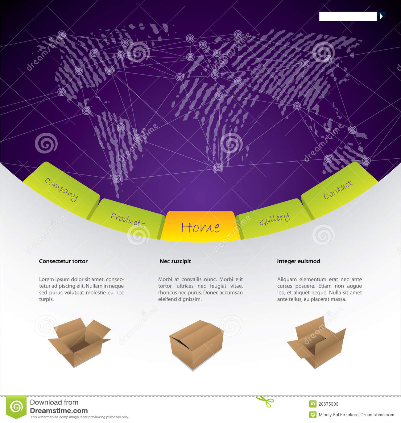 worldwide shipping website template design stock vector. Black Bedroom Furniture Sets. Home Design Ideas
