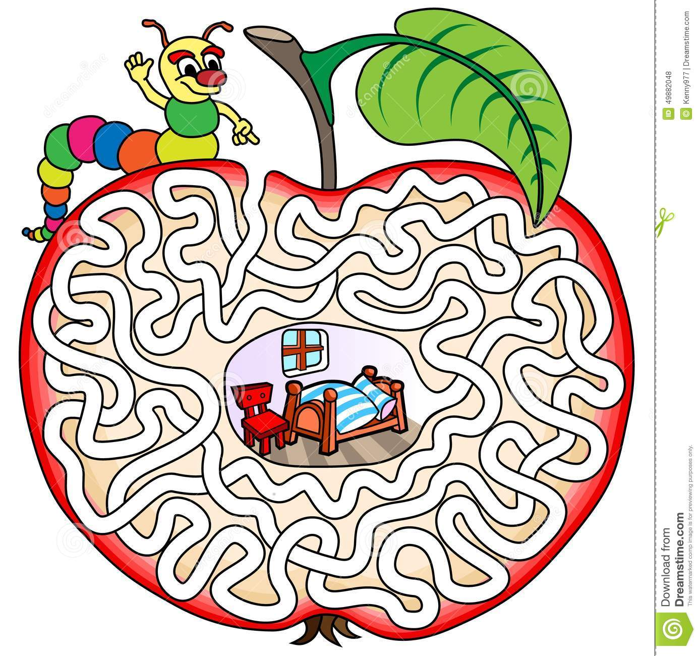 image regarding Vale Design Free Printable Maze identify Worm Within just An Apple - Maze For Young children Inventory Vector - Instance