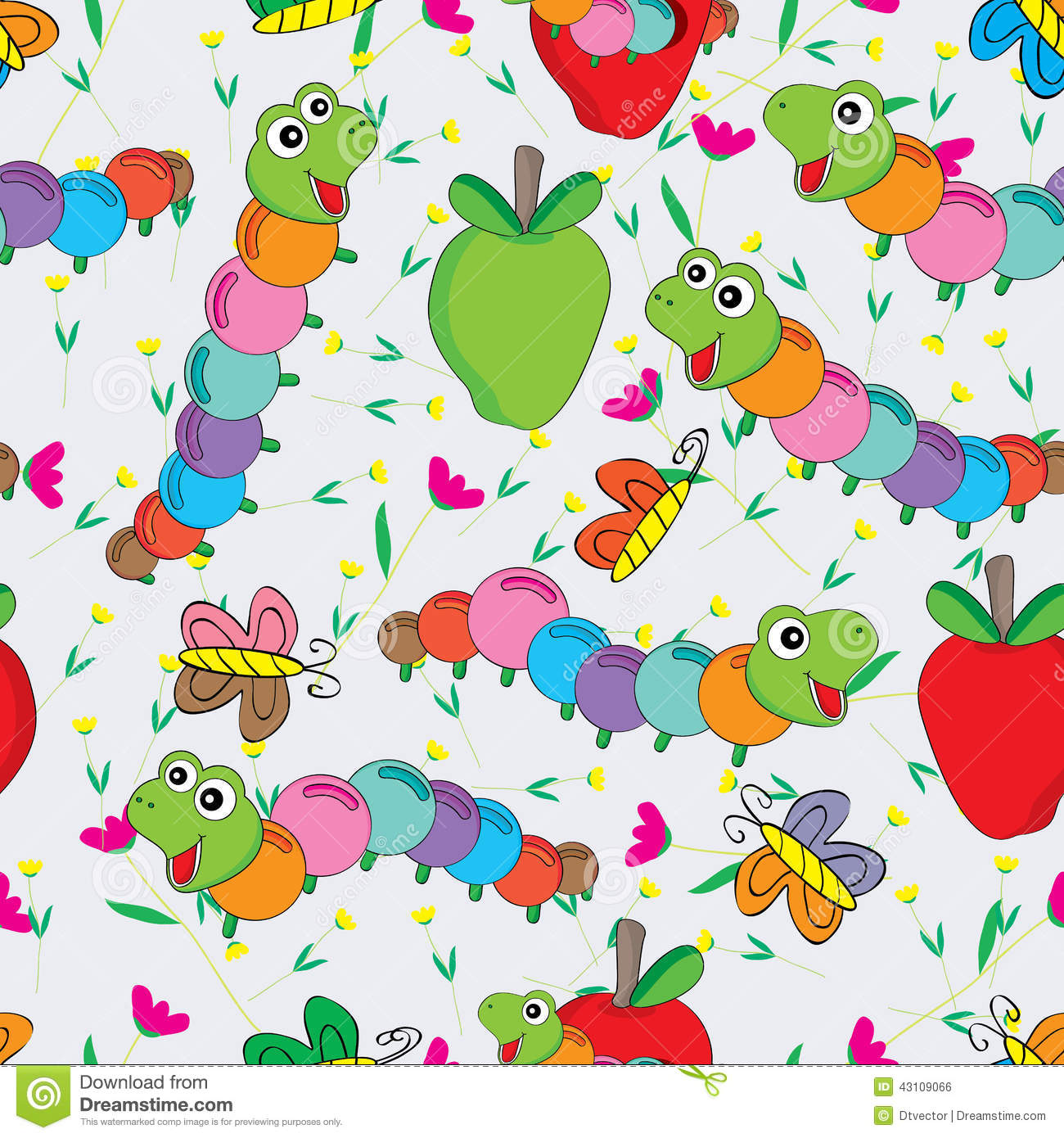 Worm Butterfly Flower Colorful Seamless Pattern Stock