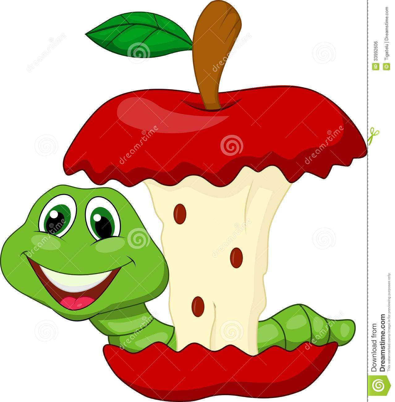 Worm Eating Red Apple Cartoon Royalty Free Stock Image - Image ...