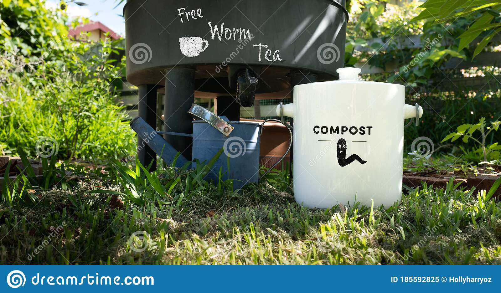 Worm Farm And Kitchen Compost Pot In Organic Australian Garden With Free Worm Tea Sustainable Living And Zero Waste Lifestyle Stock Image Image Of Outside Gardens 185592825