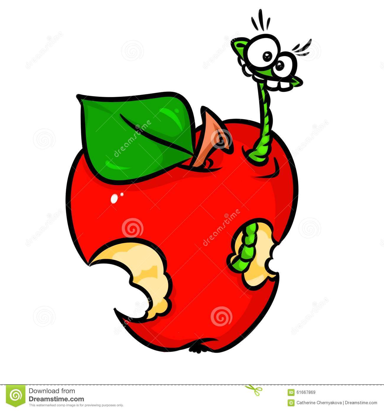 Wormy bad caterpillar apple cartoon illustration isolated image.