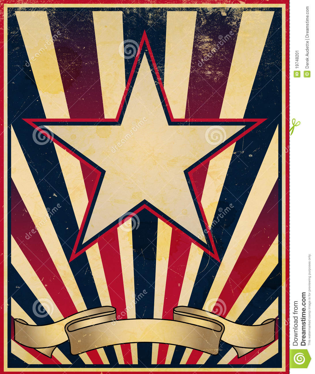 ... and faded stars and stripes themed vintage retro poster background