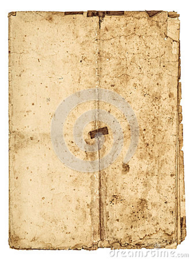 Worn falded paper sheet edges Used stained texture